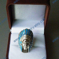 Steampunk Indian tribe chief portrait ring with turquoise---925sterling ring