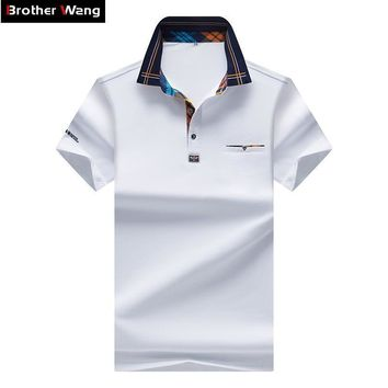 2017 New Men's POLO Shirt Fashion Hit Color Lattice Collar Casual Pure Color Paul Shirt Brand Polo Shirt Men's Clothing