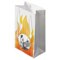 Vintage fire rooster illustration small gift bag