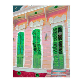 New Orleans Art Print, Pink and Green House, NOLA Shotgun House, Colorful House Art, Moon, Whimsical House, French Quarter - Korpita