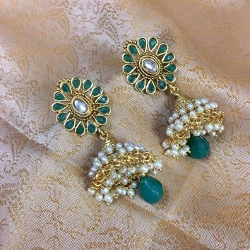 Crystal Studded Jhumka Style Earrings