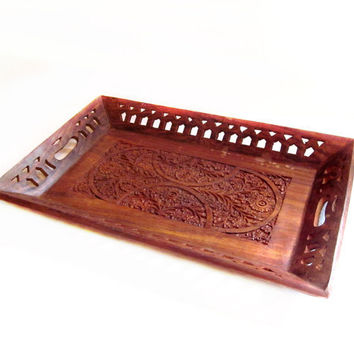Vintage Handmade Indian Carved Wood Tray