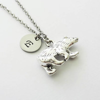 Bear Necklace, Polar Arctic Bear, North Pole, Zuni Bear, Boy Gift, Silver Initial Jewelry, Personalized Monogram, Hand Stamped Letter