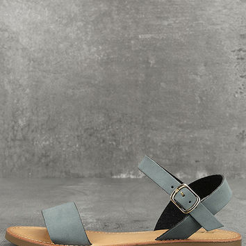 Kamalei Dark Blue Nubuck Flat Sandals