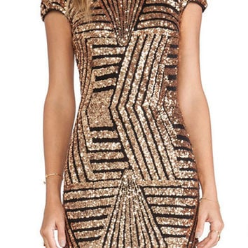 Geo Patterned Sequined Party Dress