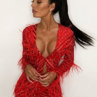Feather Fantasy Red Sheer Mesh Geometric Pattern Long Sleeve Sequin Feathers Jacket and Shorts Two Piece Set