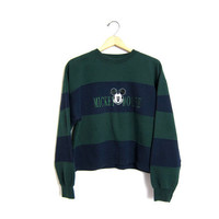 Vintage Mickey Mouse Sweatshirt Cropped 90s Color block striped Sweater Green & Blue Disney Mickey Sweater Womens Small Medium