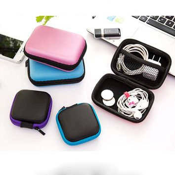 2size 8color portable Earphone headset Storage Bag Case EVA Charger data line Container Cable Box para organizer holder