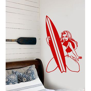 Vinyl Wall Decal Hot Sexy Surfer Girl In Swimsuit Surfing Surfboard Stickers (3157ig)