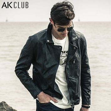 AK CLUB Leather Jacket Lapel Turnover Motorcycle Jacket 100% Real Lamb Leather Vegetable Tanned Sheepskin Biker Jacket 1508019