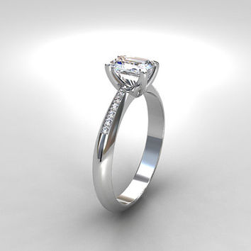 Emerald cut white sapphire engagement ring, diamond ring, white gold, yellow gold, white sapphire solitaire, emerald cut ring, diamond ring