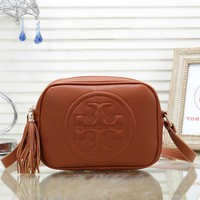 Tory Burch Women Fashion New Leather Tassel Shopping Shoulder Bag Brown