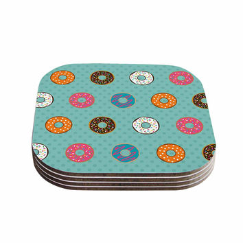 "Juan Paolo ""Doughnut Brigade"" Food Teal Coasters (Set of 4)"