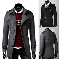 Single Breasted Slim Fit Mens Fashion Wool Coat