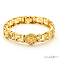 King Ice 14K Gold Greek Medusa CZ Bracelet
