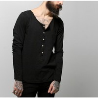 oak unisex black long sleeve torque henley tee shirt Oak