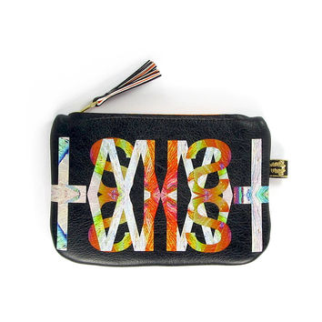 Leather Purse - Black Twist with Neon Orange