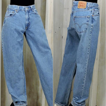 Vintage Levis 550 jeans /  size 5 / 6 / LEVI'S 100% cotton denim jeans / high waisted / medium wash /  relaxed fit / mens / womans