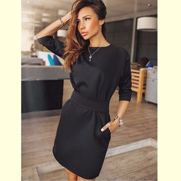 2016 Autumn Dress Women Fashion Casual Mini Dress Solid Color Short  Sleeve O-neck Women Dress Two Side Pocket Black Dresses