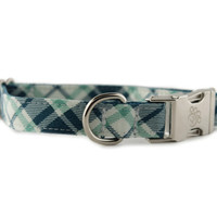 Plaid Dog Collar - Green and Blue Plaid Dog Collar - Grasshopper Plaid Dog Collar - boy dog collar - preppy dog collar - green dog collar