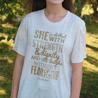 She Is Clothed With Strength Tee - Oatmeal