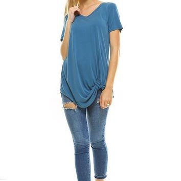 Turquoise knit twisted knot oversized soft tunic tee