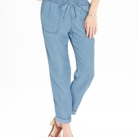 Old Navy Womens Pull On Drapey Denim Pants