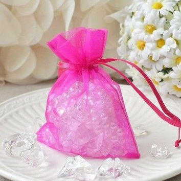 """10 Hot Pink Organza Favor Pouches 3""""x4"""" Wedding Baby Shower Party Gift Bags"""