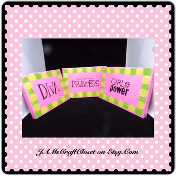 Pink Wooden Sign-Princess-Wall Hanging-Handmade-Hand Painted-Unique-One of a Kind-Home Decor-Wall Art-Girl Power-Gift-Nursery-DIVA-Shower