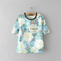 Women's Trending Popular Fashion 2016 Summer Beach Holiday Floral Printed Pullover Short Sleeve Alphabets Words Shirt Blouse Top Casual Party Playsuit Clubwear Bodycon Boho Top Shrit T-Shirt T-Shirt _ 4211