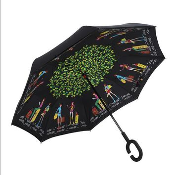 Design creative gifts quality men women double layer hands-free long rain reverse car umbrella bautiful china vintage big large