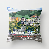 Wellington Harbour, NZ Throw Pillow by Ira Mitchell-Kirk