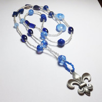 Fleur de Lis and Blue Fancy Glass Beadwork Necklace