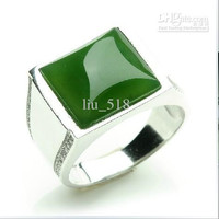 Wedding Ring The natural and Tianbi Yu Ring 925 silver inlaid the spinach green jasper ring