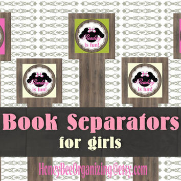 Book Separators for girls - Unique bookmarks - Bookmarks for kids - Printable Bookmarks - Instant download