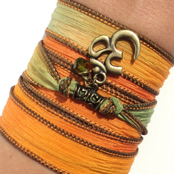 Namaste Silk Wrap Bracelet Yoga Jewelry Fall Autumn Om Bohemian Meditation Upper Arm Band Unique Gift For Her Under 50 Item S24