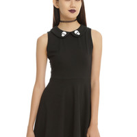 Black Skull Print Collar Skater Dress