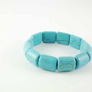 Turquoise Bracelet Turquoise Jewelry Square Beads Chunky Gemstone Bracelets Statement Jewelry