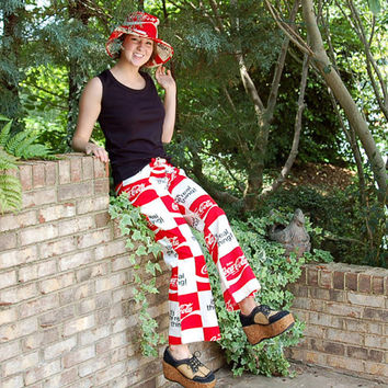 1970s Coca Cola pants and hat, floppy hat, drawstring pants, It's the Real Thing, Coke logo pants, 70s hip huggers, Size S Small