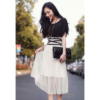 White Bohemian Short Sleeve Chiffon Dress