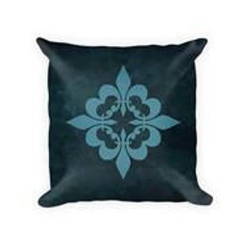 Quatre Fleur de Lis Cotton Poly Throw Pillow