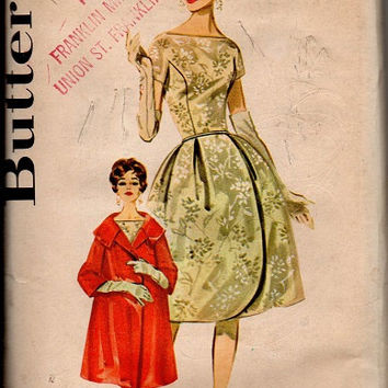 Retro 1960s Vintage Butterick 9927 Sewing Pattern Cocktail Garden Tea Dress Opera Evening Coat Bell Skirt Uncut FF Bust 32