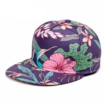 New Mens Unisex Graphic Print Leopard or Purple Tropical Flat Brim Snapback Hats