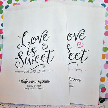 Wedding Favor Bags - Candy Bags - Popcorn Bags - Wedding Party Favors - Wedding Supplies - Love is Sweet CB07WED20