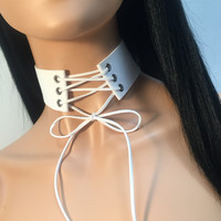 Tie Up Lace Up Suede Choker - White