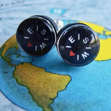 Where Are YOU - Tiny Compass Earrings - Micro Black