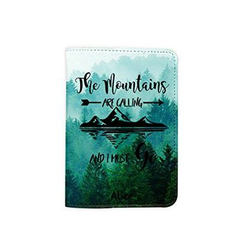 The Moutains Are Calling And I Must Go [Name Customized] Leather Passport Holder - Leather Passport Cover - Travel Accessory- Travel Wallet for Women and Men_Matrioshka