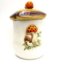 Vintage Mushroom Cookie Jar Woodland by CarpeDiemTreasures