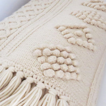 Vintage off-white eggshell ivory ecru crochet afghan throw blanket with fringes 64 x 58 in