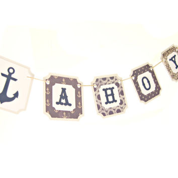 Navy Nautical AHOY Banner - Nautical Bunting, Ahoy Banner, Navy banner, Navy Bunting, Anchor Banner, Nautical Party, Nautical Bachelorette